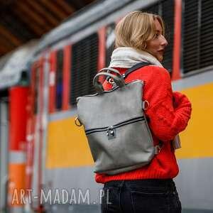 ręcznie robione plecak / torba 2 w 1 z szarej skóry ekologicznej