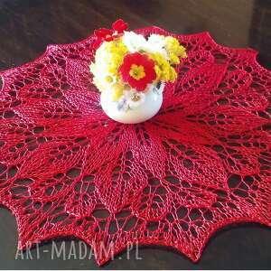 Red rose, serwetka na drutach podkładki ineverashop drutach
