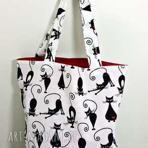 Torba na zakupy ekologiczna Shopperka koty serca, torba, torba-na-zakupy, shopperka