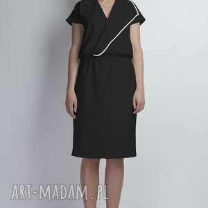 sukienka, suk119 czarny, asymetryczna, lamówka, midi, komunia, wesele