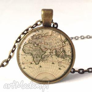 naszyjniki mapa świata - medalion z łańcuszkiem, mapa, świata, stara