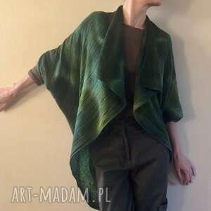 wełniany kardigan/kokon w zielonościach, kardigan, sweter, kokon