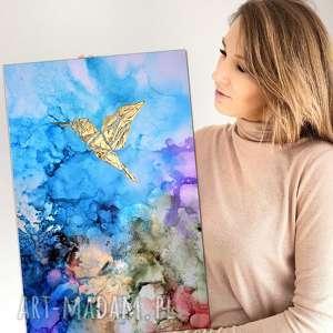 obraz ręcznie malowany na płótnie abstrakcja - koliber w tęczowej mgle