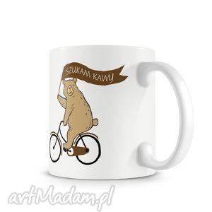 kubek - szukam kawy, kubek, miś, kawa, rower