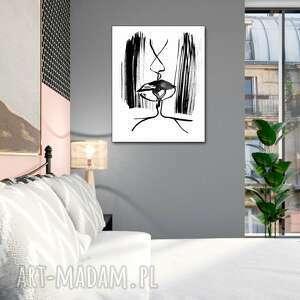 grafika pocałunek 6a, 70 x 90, nowoczesny obraz czarno biały do salonu, sypialni