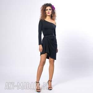 Cindy - asymetryczna sukienka, asymetryczna, drapowana, elastyczna