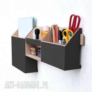Organizer ścienny drewniany - CZARNY, biuro, na-ścianę, biurko, do-szkoly,