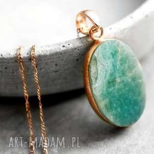 925/18k Różowo pozłacany łańcuszek Amazonit , kamień, minerał, amazonit, modny