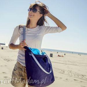 Torba Worek Blue & Aquamarine, torba, granat, turkus, zamsz, alkantara