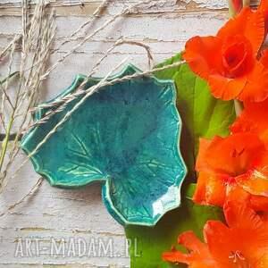 ręcznie zrobione ceramika turkusowo-zielony listek