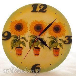 zegar w słoneczniki, zegar, decoupage, prezent