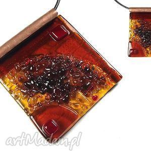 wisiorki atlantis brown dark - duży wisior szklany biżuteria autorska wykonana