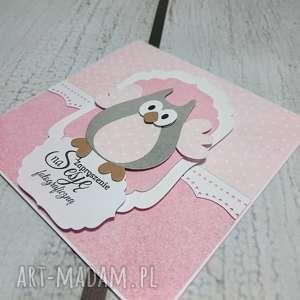 zaproszenie kartka elegancka sowa w różu - zaproszenie, sesja, urodziny, chrzest