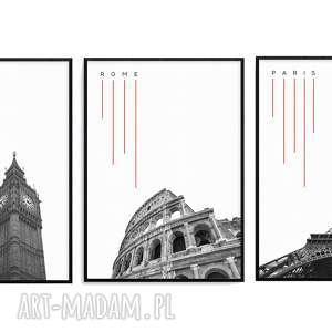 zestaw 3 grafik b2 paris rome london, paryż, grafiki, tryptyk, mapy, miasta