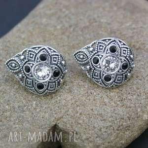 kolczyki srebrne z cyrkoniami, kolczyki, srebrne, cyrkonie, orientalne, eleganckie
