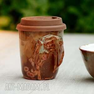 ręcznie wykonane ceramika komplet - kubek niekapek z miską, koniem   miedziany