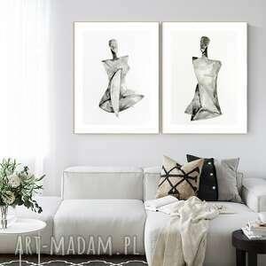 Zestaw 2 obrazów 50x70 cm wykonanych ręcznie, abstrakcja