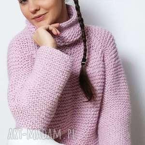 Różowy sweter, wełniany, różany, golf, dziergany, pudrowy