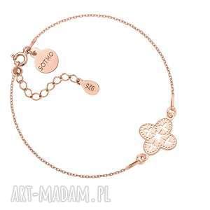 bransoletka z różowego złota z ażurową - różowa