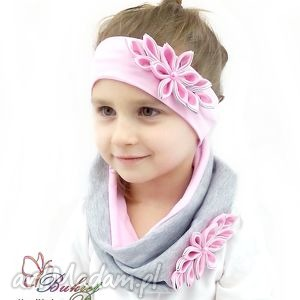Komplet dla dziewczynki - opaska, czapka, komin czapki bukiet