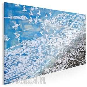 obraz na płótnie - błękitny mewy marynistyczny 120x80 cm 87101, mewy, ptaki
