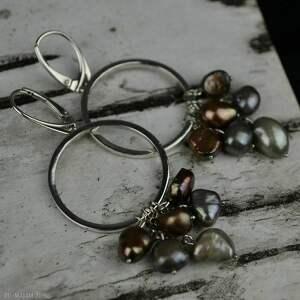 długie kolczyki koła z perłami srebro