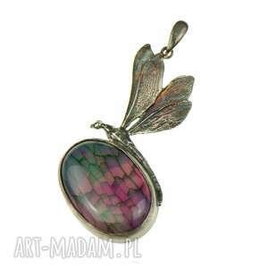 agatowa ważka - naszyjnik srebrny a774, wisiorek z agatem, ważką