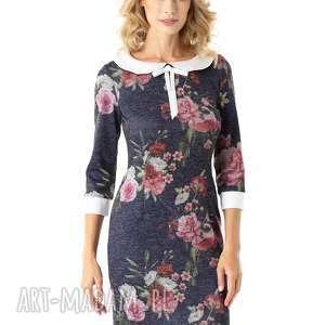 Dopasowana sukienka z kołnierzykiem Flora granatowa w kwiaty, dopasowana-sukienka