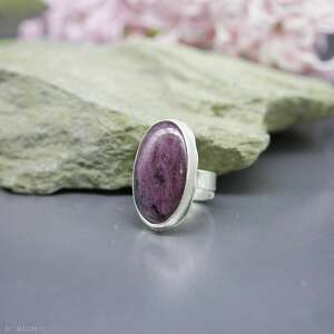 rubin z zoizytem pierścionek emmeril, zoizyt, srebrny