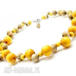 żółte korale drewniane, szary naszyjnik, naszyjnik z korali, z małych