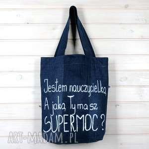 torba dżisnowa jestem nauczycielką do szkoły prezent, szkoła, nauczyciel
