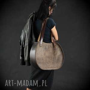 torebka skórzana torba ręcznie robiona okrągła unikalna miejska duża wygodna