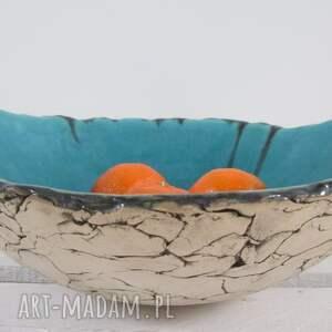 Prezent artystyczna miska na owoce, miska-ceramiczna, miska-na-owoce, turkusowa-miska