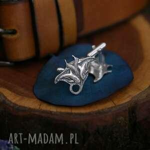 ręczne wykonanie spinki do mankietów płaszczka z orkami - srebrne