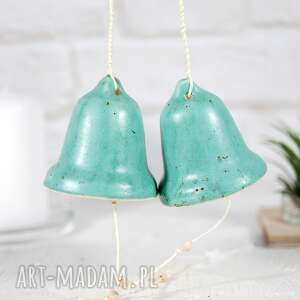 dekoracje ceramiczny dzwonek świąteczny - turkus, dzwonek, w stylu