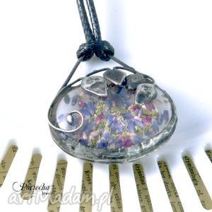 meadow - naszyjnik z wisiorem, naszyjnik, wisior, tiffany, liście, kwiaty, lawenda