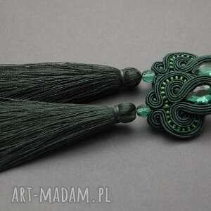 sisu zielone klipsy sutasz z chwostami, sznurek, wiszące, szmaragdowe