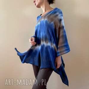 narzutka bawełniana blue brown, ponczo, tunika, sweter, bawełna, narzutka, one