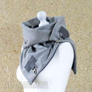 ręcznie zrobione szaliki wełniany szal w jodełkę - szal unisex - szary