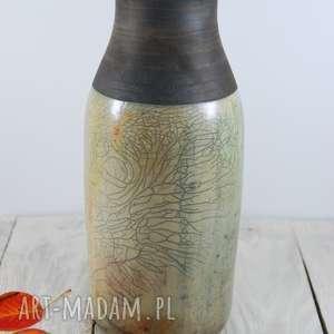 Wazon zieleń raku ceramika mula artystyczna, krakle, ceramiczny