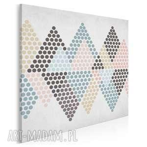 Obraz na płótnie - trójkąty kropki pastele w kwadracie 80x80 cm