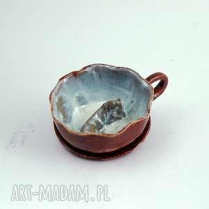 Prezent Ceramiczna duża filiżanka kubek z figurką konia. Walentyki, Dzień Babci, koń