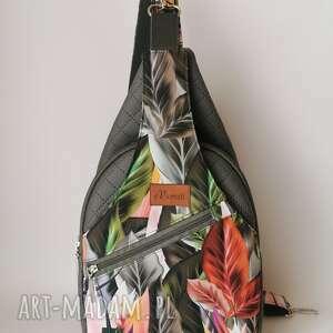 plecak kompaktowy dwukomorowy ekoskóra handmade na ramię liście, worek