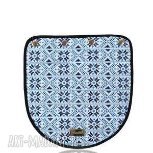 klapka puro 1243 belarusian blue, tasiemki, wzory, nibieska, szyta, klapka