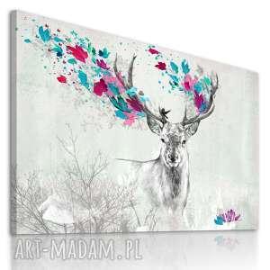 obraz na płótnie - 120x80cm jeleń jesienią 02270 wysyłka w 24h, jeleń, różowy