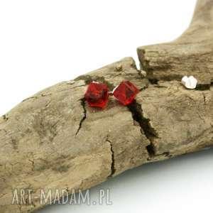 Kolczyki kostki cube w srebrze, kolczyki, srebrne, kryształki, swarovski,