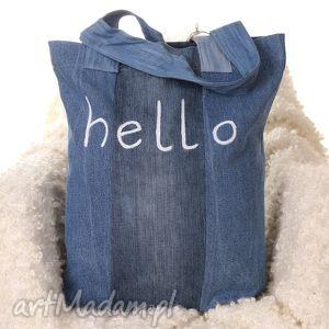Dżisnowa torba z napisem Hello - torba, hello, napis, denim, jeans, dżinsowa