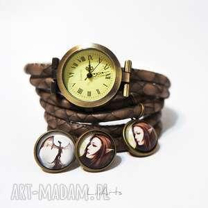 komplet - elf i smok zegarek kolczyki antyczny brąz, zegarek