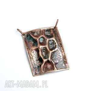 handmade naszyjniki wisior miedziany z obrożą ze stali szlachetnej 316l
