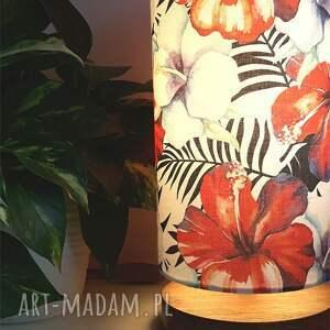 lampa nocna dekoracyjna hibiskus, stołowa, nocna, z abażurem